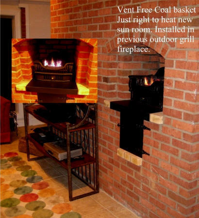 Coal Grates fit small fireplaces or unused brick kitchen grills