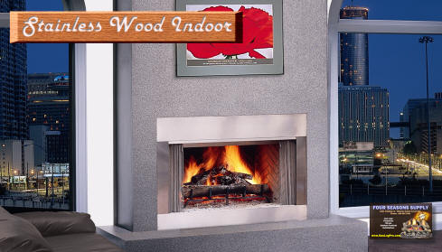 Stainless Steel wood burning fireplace indoors